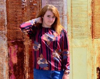 Women's Pullover Blouse, Size 14, Ladies' Vintage Maroon Shirt, Ship N Shore Flowered Vintage Shirt, Floral, Stripes, Mad Men