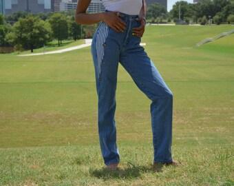 Super High Waisted Jeans, Extra Long Jeans, Size 2, Size 4, Vintage Jeans, Denum Jeans, Vintage Denim, Striped Jeans, Unique, Funky, Retro
