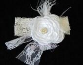 Baby Headband, White Headband, Flower Headband, Shabby Chic Headband, Lace Headband, Wedding Headband