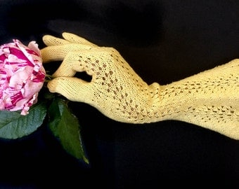 Vintage Crochet Gloves - Yellow