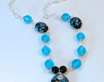 BLUE & BLACK WAVE Lampwork Necklace