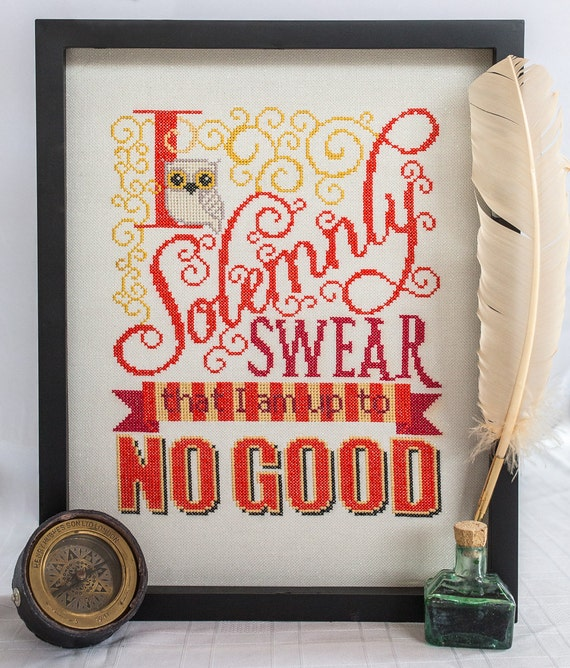 SALE ! 50% Coupon ! Harry Potter Cross Stitch Pattern - I Solemnly Swear I am up to No Good - Digital PDF Pattern