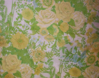 GROOVY PINCH PLEAT Drapes Pair Floral Yellow Green Aqua Blue Window Curtains