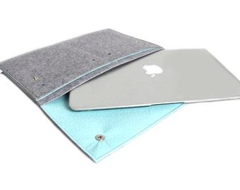 "New Macbook 12""/ Macbook Air 11 inch Case / Macbook Air 13 inch/ MacBookPro 13""/15"" Case- Case Organiser- Light Grey & Pastel Blue"