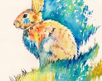 Backyard Hare - original watercolor painting