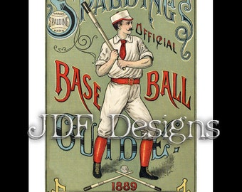 Instant Digital Download, Vintage Victorian Graphic, Spalding Base Ball Guide, Printable Image, Scrapbook, Americana Typography, Baseball