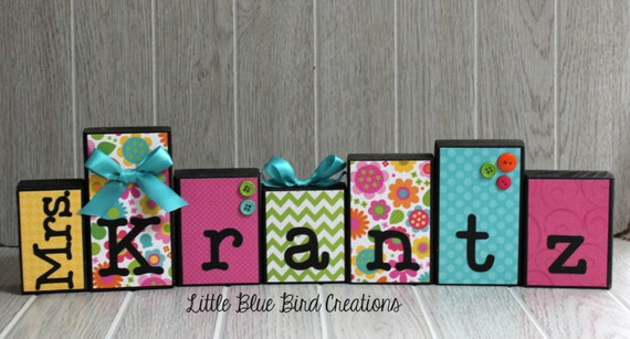 Classroom Decor Gifts ~ Personalized teacher gift block by