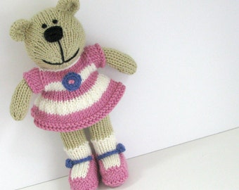 Hand Knitted Bear - Plush Doll - Stuffed Animal - Knitted Toy - Knit Teddy Bear - Child Toy - Baby Keepsake - Kids Toy - Small Toy - Hannah