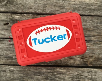 Personalized Football Pencil Box Art Box Crayon Box School Box -- Free Shipping in USA