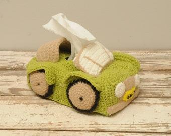 Crocheted Tissue Box Car GREEN