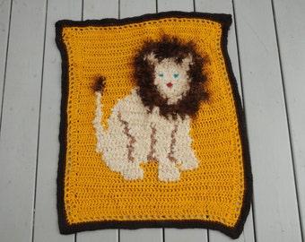 Crocheted Lion Afghan Baby Blanket