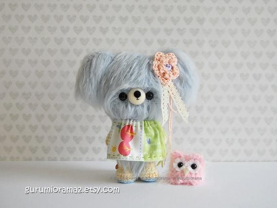 Bear kawaii petite fuzzy amigurumi crochet soft pastel baby blue, pink mini Owl - Ready to Ship