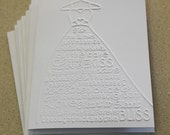 Weddding dress card set, set of eight embossed cards in white, gift idea