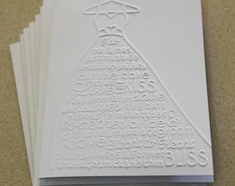 Weddding dress card set, set of eight embossed cards in white, wedding shower cards, wedding cards, engagement cards, bridesmaid card set
