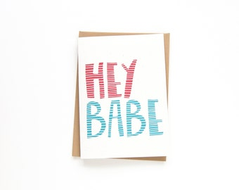 I Miss You Card - Just Because Card - Hand Drawn Typography - Long Distance Relationships - Love Card - Hello Card - Hey Babe