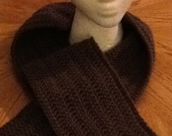 0097 Traditional Crochet Scarf - Taupe
