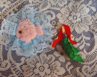 Sculptured Hair Clip Set - Fish & Mermaid Hair Clip Set - Double Hair Clip Set - Beach/Underwater Fun Hair Clip Set - Boutique Clip Set