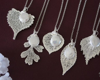 3 Bridesmaid Necklace Gifts, Leaf Necklaces, Pearl Necklace, Bridesmaid Necklaces, Silver Leaf, Real Leaf Necklace, Pendant, Bridal Gift