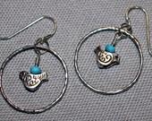 Turquoise 925 Sterling Silver Hoop Earrings Bird Charm and 925 Sterling Silver Hoop Earrings Everyday Earrings