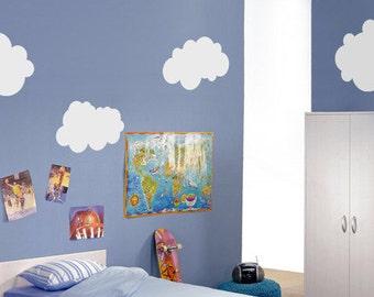 6 Fluffy Clouds Vinyl Wall Sticker   60 x 30 cm /  23 X 11 inches each