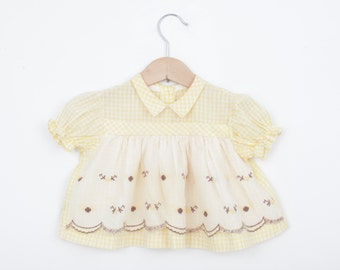 Vintage Baby Dress in Pastel Yellow Gingham with Flowers and Lace 0 to 6 months