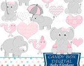 Baby Elephant Clipart, Baby Elephant Clip Art, Baby Girl Clipart, Baby Girl Clip Art, Baby Clipart, Baby Clip Art - Commercial Use OK