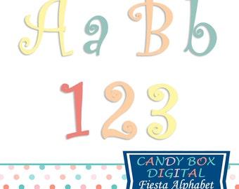 Fiesta Party Alphabet Clipart, Curly Alphabet Font Clip Art - Commercial Use OK