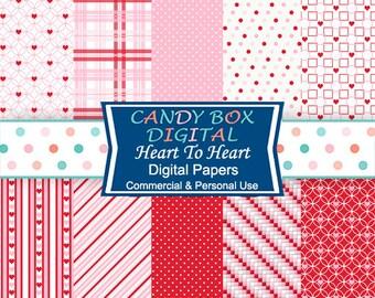 Valentine Digital Paper, Heart Paper - Commercial Use OK