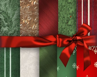 Christmas Digital Papers, Gift Wrapping, Digital Papers, 10  Digital Paper Pack  No 1198