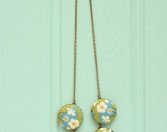 Liberty of London Five Button Fabric Necklace in Mitsi Green