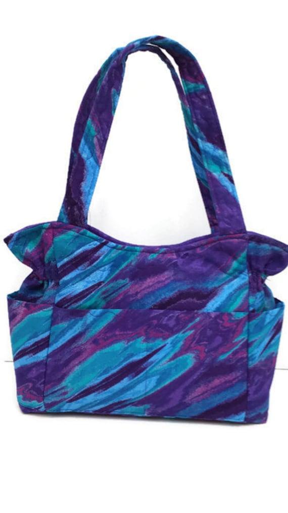 medium purple bagturquoise shoulder bag tote purse quilted. Black Bedroom Furniture Sets. Home Design Ideas
