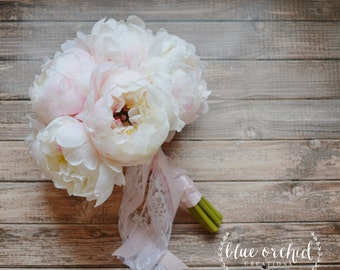 Wedding Bouquet, Silk Peonies - Silk Wedding Bouquet, Peony, Peony Bouquet, Silk Flower Bouquet, Silk Flowers, White Peony Bouquet with Pink