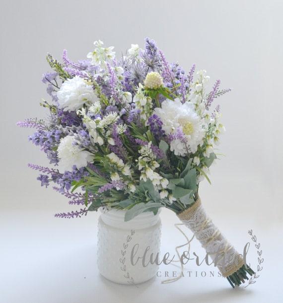 Wildflower Bridal Bouquet Rustic Bouquet Lavender