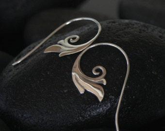Spiral Earrings Small - sterling silver spiral hoop earrings - gift for her - tribal earrings
