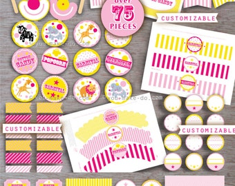 pink and yellow carnival 1st birthday girl party printables carnival birthday pink circus pink carnival baby shower girl 1st birthday girl
