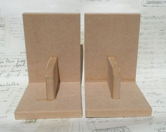 A Pair of Blank MDF Bookends for Decorating - Painting / Decoupage / Fabric Crafts etc.