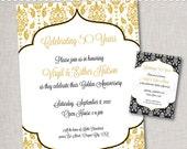 50th Anniversary Invitation- Golden Anniversary Invitation - Printable Digital File or Printed Invitations with Envelopes - FREE SHIPPING