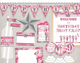 Birthday BootCamp Pink Army Printable Party Custom PDF files - Pink Camo Girl Army Party