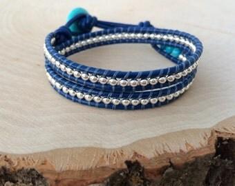 Sterling Silver Wrap Bracelet, Nautical Wrap, Royal Blue Bracelet, Adjustable Bracelet, Sterling Silver Bracelet, Choose Your Color
