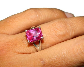 Pink Sapphire Ring, Sterling Silver, Emerald Cut Gemstone