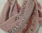 Multi-textured Infinity Scarf in shades of Pink/Light Maroon. Fits adult. Mother's Day gift.