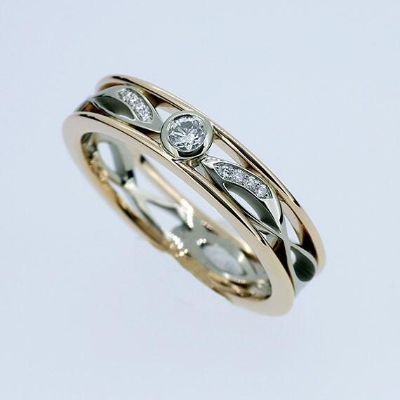 Diamond Ring Filigree Wedding Band Yellow By TorkkeliJewellery