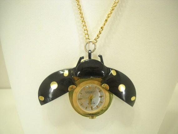 VINTAGE LADYBUG BEETLE Bug Pendant Necklace Watch JUFREX ...