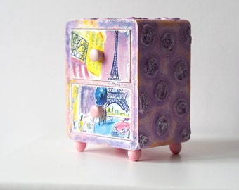 Jewelry Organizer Box, Paris Box, Jewelry Box Drawer, Paris Decor Box, Paris Gift Box, Shabby Chic Jewelry Cabinet,