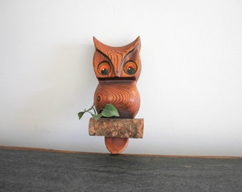 vintage wooden owl wall hanging log art