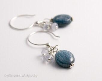 Sterling Silver and Kyanite Earrings, Blue Kyanite Earrings