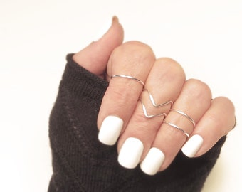 Midi Ring Set, 2 Chevron 3 Bands - Gold or Silver Tone Rings Adjustable, Above the Knuckle, Dainty Petite Midi Stacking