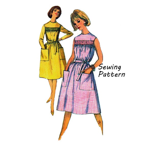 Simplicity 5435 Woman's A-Line Gathered Yoke One-Piece Dress w/o Smocking, Fabric Tie Sewing Pattern Vintage 1960's Size 14 Bust 34in/86cm