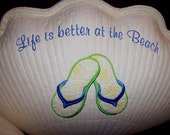Life is Better at the Beach with floral flip flops shell shape pillow