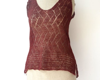 hand-knitted top, burgundy himalayan nettle tank top, size small to medium